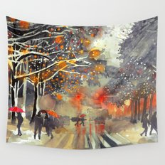 WINTER IN THE CITY Wall Tapestry