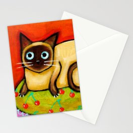 Siamese cat nervous siamese kitty on a cherry pillow art by Tascha Stationery Cards
