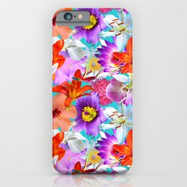 Tropical Floral Study in Turquoise iPhone Case
