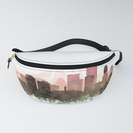 Portland Skyline Watercolor Blush Taupe Green by Zouzounio Art Fanny Pack