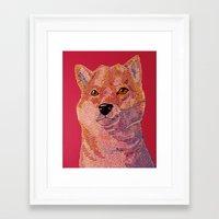 shiba inu Framed Art Prints featuring Shiba Inu by eriatlov j