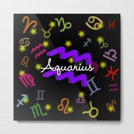 Aquarius Floating Zodiac Metal Print