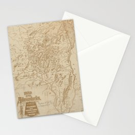 Vintage Map of The Adirondack Mountains (1880) Stationery Cards