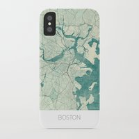 boston map iPhone & iPod Cases featuring Boston Map Blue Vintage by City Art Posters