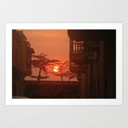 Sunset in Cartegena Art Print