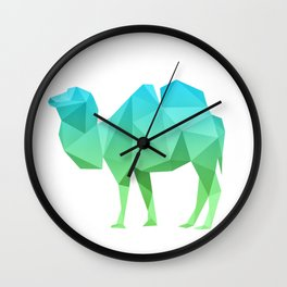 Geometrical camel in blue and green Wall Clock