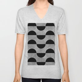 Black abstract 60s circles on concrete - Mix & Match with Simplicty of life Unisex V-Neck
