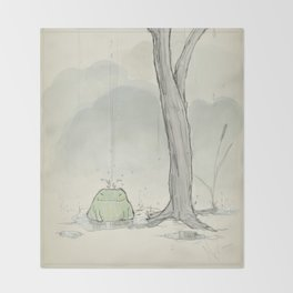 The frog under the rain Throw Blanket