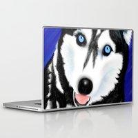 husky Laptop & iPad Skins featuring Happy Husky by MrsKristenArtworks