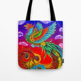 Colorful Fenghuang Chinese Phoenix Rainbow Bird Tote Bag