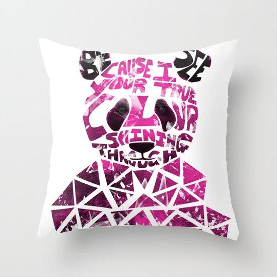 Pink Panda Throw Pillow