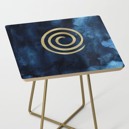 Infinity Navy Blue And Gold Abstract Modern Art Painting Side Table