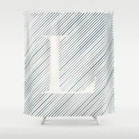 striped Shower Curtains featuring Striped L by DLUTED DESIGN