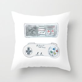 Old School Controllers Throw Pillow