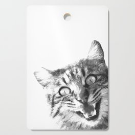 Black and White Happy Cat Cutting Board