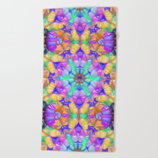 Colorful Concentric Reflections Beach Towel