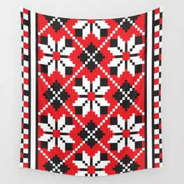 Slavik red, black and white floral cross stitch design pattern. Wall Tapestry