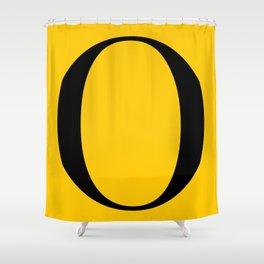 Serif O. Black on Yellow. Shower Curtain