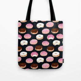 Donuts pattern pink and chocolate in a dark background Tote Bag