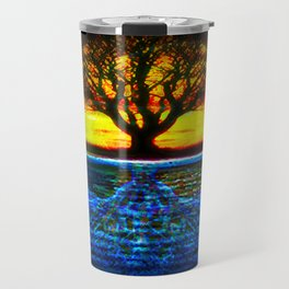 Duality Tree of Life Reflection Moon & Sun Day & Night Painting by CAP Travel Mug
