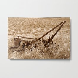Antique Plow Abandoned in a Field in Sepia Metal Print