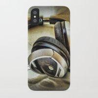 headphones iPhone & iPod Cases featuring Headphones by AngelEowyn
