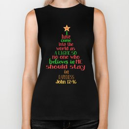 Christmas Tree Shaped Bible Verse John 12:46 Holiday Design Biker Tank