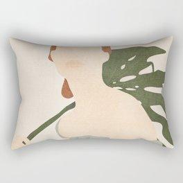 Holding the Monstera Leaf Rectangular Pillow