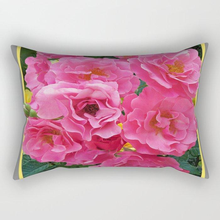 CLUSTERED PINK ROSES YELLOW-GREY ART Rectangular Pillow