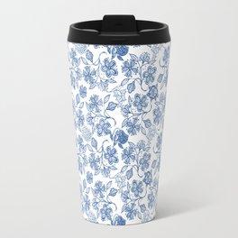 Pretty Indigo Blue and White Ethnic Floral Print Travel Mug