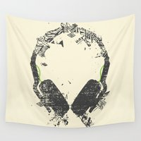diablo Wall Tapestries featuring Art Headphones V2 by Sitchko Igor