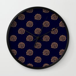Navy Blue and yellow Swirl sun pattern Wall Clock