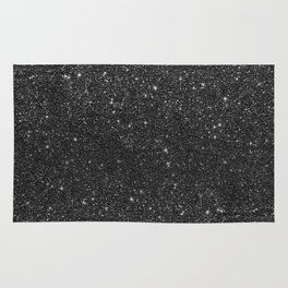 Modern chic elegant trendy faux black glitter Rug