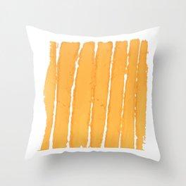 Set of yellow paint, ink, grunge, dirty brush strokes. splash yellow orange Throw Pillow