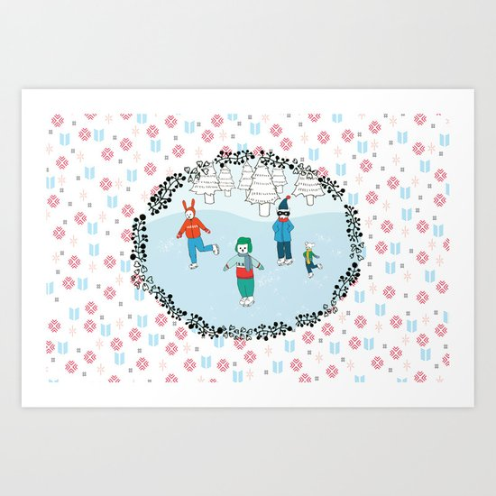 Ice Skating Animals Art Print