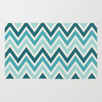 indie Area & Throw Rugs featuring Indie Spice: Turquoise Chevron by Designer Ham
