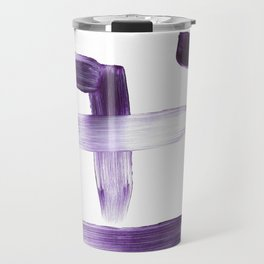 Purple Brush Strokes on White Travel Mug