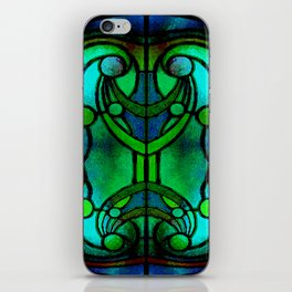Green and Aqua Art Nouveau Stained Glass Art iPhone Skin