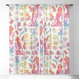 Cephalopod - pastel Sheer Curtain