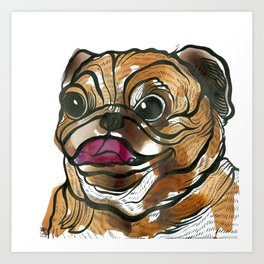 Old Tea Pug Art Print
