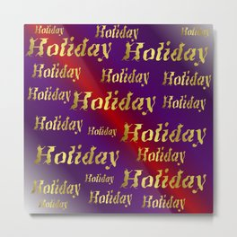 golden holiday text in red and purple metal Metal Print
