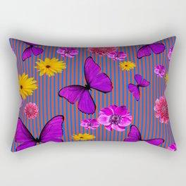 PURPLE BUTTERFLIES ASSORTED FLOWERS Rectangular Pillow