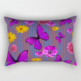 PURPLE BUTTERFLIES ASSORTED FLOWERS Rectangular Pillow