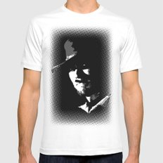 CLINT White Mens Fitted Tee MEDIUM