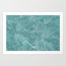 Marble Pattern - Cracked Lake Aqua Blue Marble Art Print