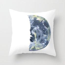 First Quarter Moon Watercolor Throw Pillow