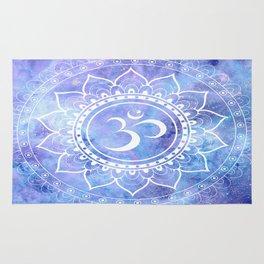 Om Mandala Lavender Periwinkle Blue Galaxy Space Rug