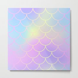 Pink Blue Mermaid Tail Abstraction Metal Print
