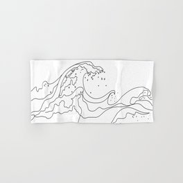 Minimal Line Art Ocean Waves Hand & Bath Towel