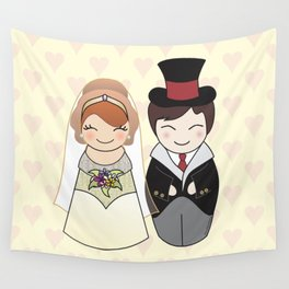 Kokeshis Just married Wall Tapestry